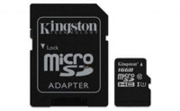 Kingston Micro SDHC 16GB Canvas Select 80R CL10 UHS-I Card + SD Adapter