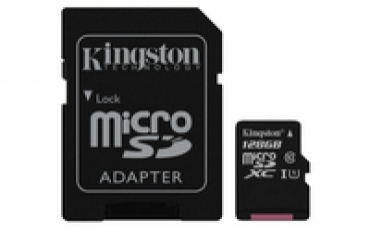 Kingston Micro SDXC 128GB Canvas Select 80R CL10 UHS-I Card + SD Adapter