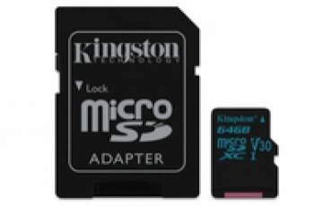 Kingston MicroSDXC 64GB Canvas Go! Class 10 UHS-I U3  + SD Adapter