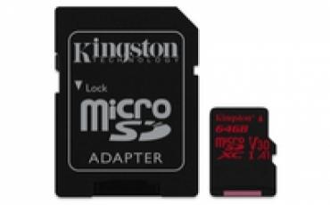 Kingston Micro SDXC 64GB Canvas React  100R/80W U3 UHS-I V30 A1 Card   SD Adptr