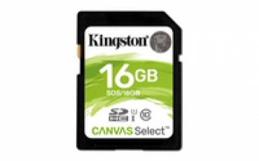 Kingston SD Card HC 16GB Canvas Select 80R CL10 UHS-I