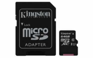 Kingston Micro SDXC 64GB Canvas Select 80R CL10 UHS-I Card + SD Adapter