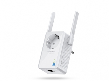 TP-LINK 300Mbps Wireless N Wall Plugged Range Extender with Pass Through  Atheros  2T2R  2.4GHz  802.11n/g/b  Power on/off and Ranger Extender button  Range extender mode  with high gain external Antennas
