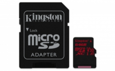 Kingston Micro SDXC 64GB Canvas React  100R/80W U3 UHS-I V30 A1 Card   SD Adptr