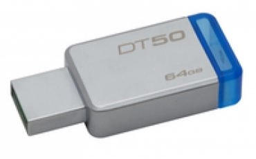 Kingston Pen Drive 64GB DataTraveler 50 USB 3.0 Metal/Blue
