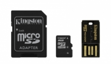 Kingston Mobility/Multi Kit 8GB: inclui MicroSDHC/microSD 8GB + Adaptador SD + Adaptador USB